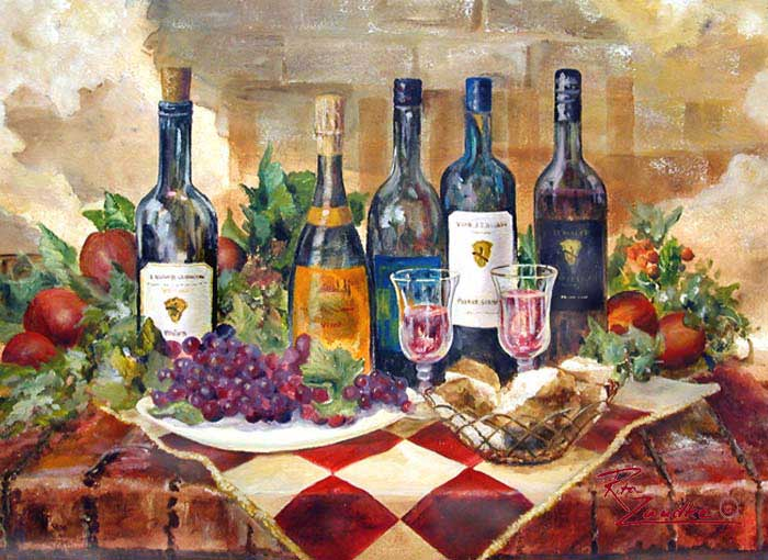 Vino Italiano Ii Italian Paintings By Rita Zaudke